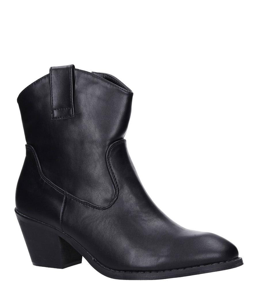 Czarne botki kowbojki na niskim obcasie Casu DA192X4/B czarny