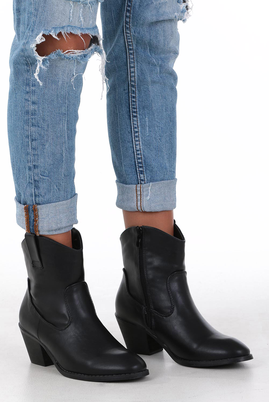 Czarne botki kowbojki na niskim obcasie Casu DA192X4/B style Kowbojki