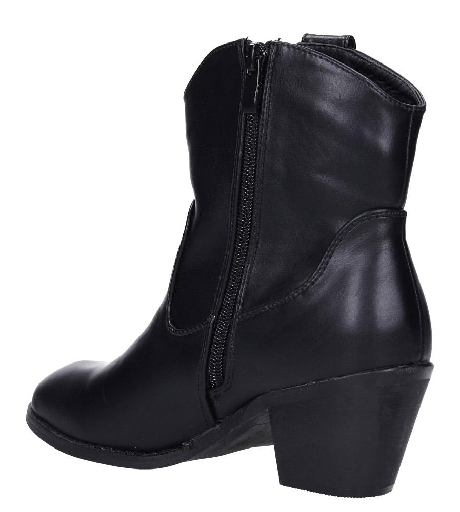 Czarne botki kowbojki na niskim obcasie Casu DA192X4/B wys_calkowita_buta 20 cm