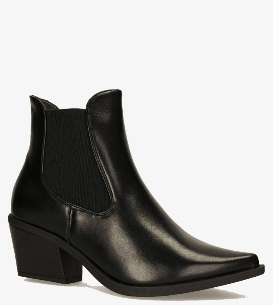 Czarne botki kowbojki na szerokim słupku z gumkami po bokach Casu G20X14/B wysokosc_obcasa 6.5 cm