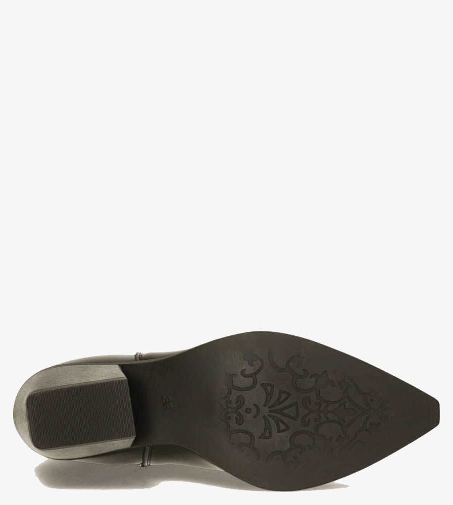 Czarne botki kowbojki na szerokim słupku z gumkami po bokach Casu G20X14/B wysokosc_platformy 1 cm
