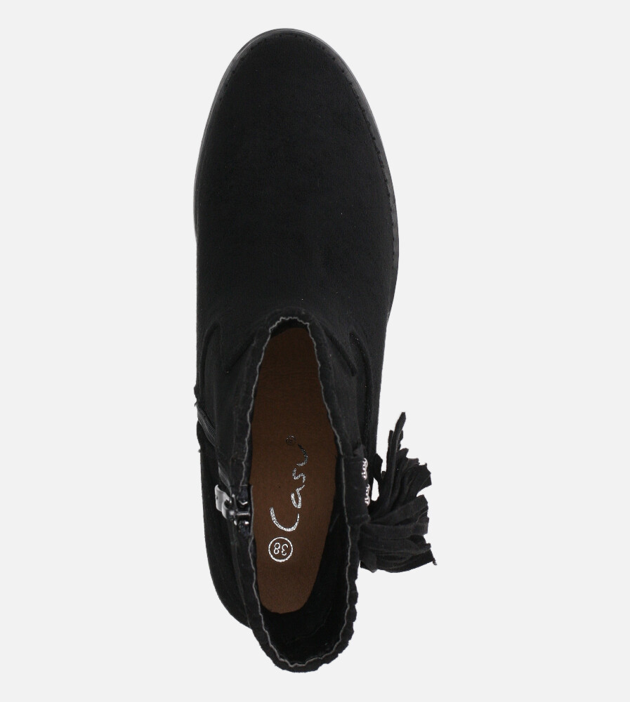 Czarne botki kowbojki z frędzlami na niskim obcasie Casu D20X24/B wys_calkowita_buta 20.5 cm