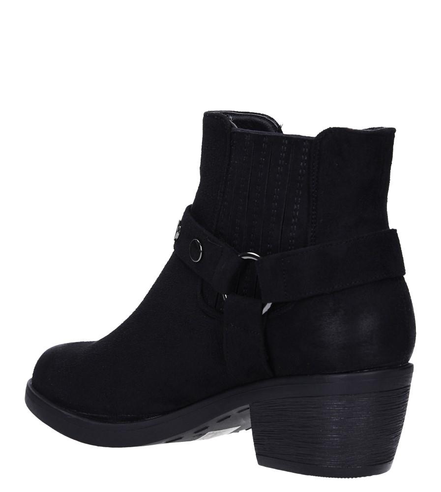 Czarne botki kowbojki z nitami na niskim obcasie Casu G19X19/B wys_calkowita_buta 17 cm