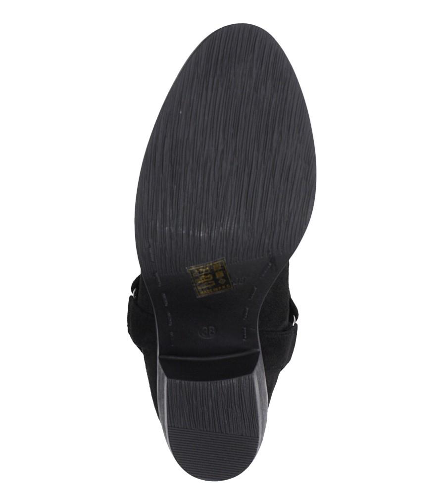 Czarne botki kowbojki z nitami na niskim obcasie Casu G19X19/B wnetrze materiał ocieplany