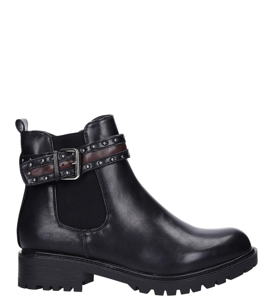 Czarne botki na obcasie niskim z ozdobną klamrą Casu G19X8/B wys_calkowita_buta 18 cm