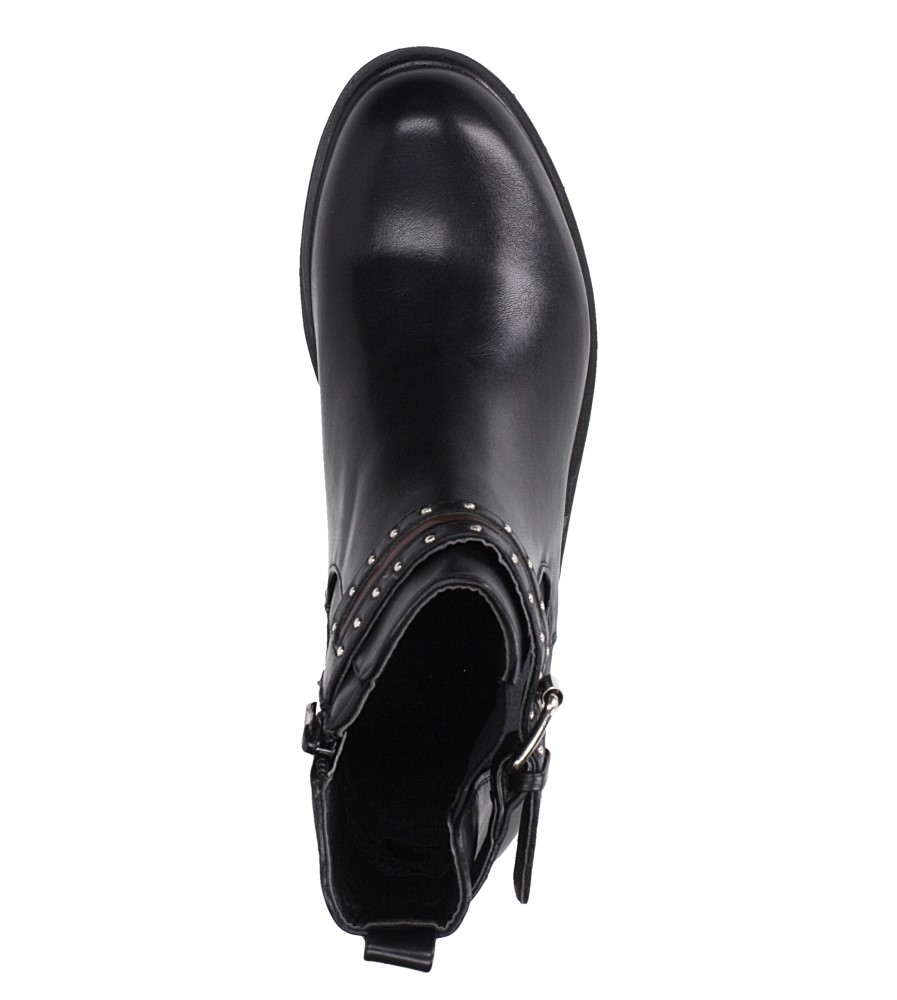Czarne botki na obcasie niskim z ozdobną klamrą Casu G19X8/B wnetrze materiał ocieplany