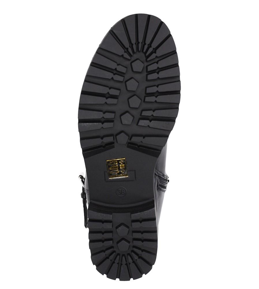 Czarne botki na obcasie niskim z ozdobną klamrą Casu G19X8/B wkladka materiał ocieplany