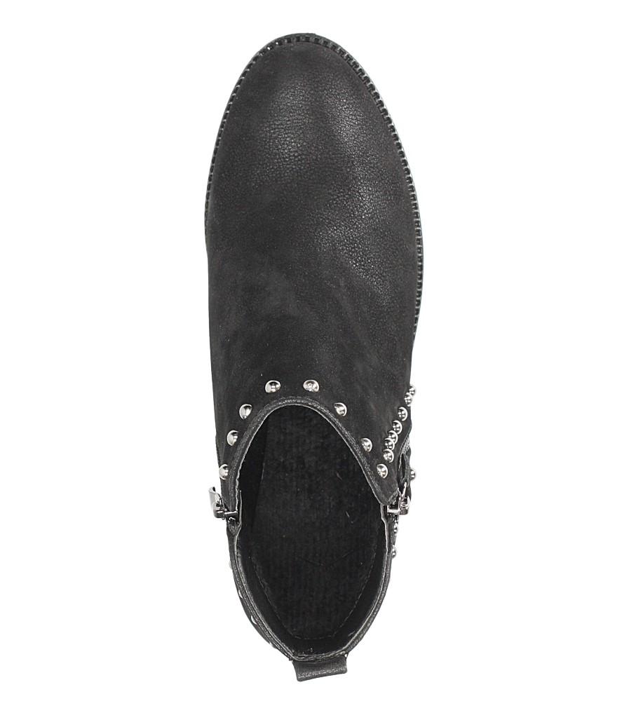Czarne botki na niskim obcasie z ozdobnym suwakiem i nitami Casu D18X16/B wkladka futerko