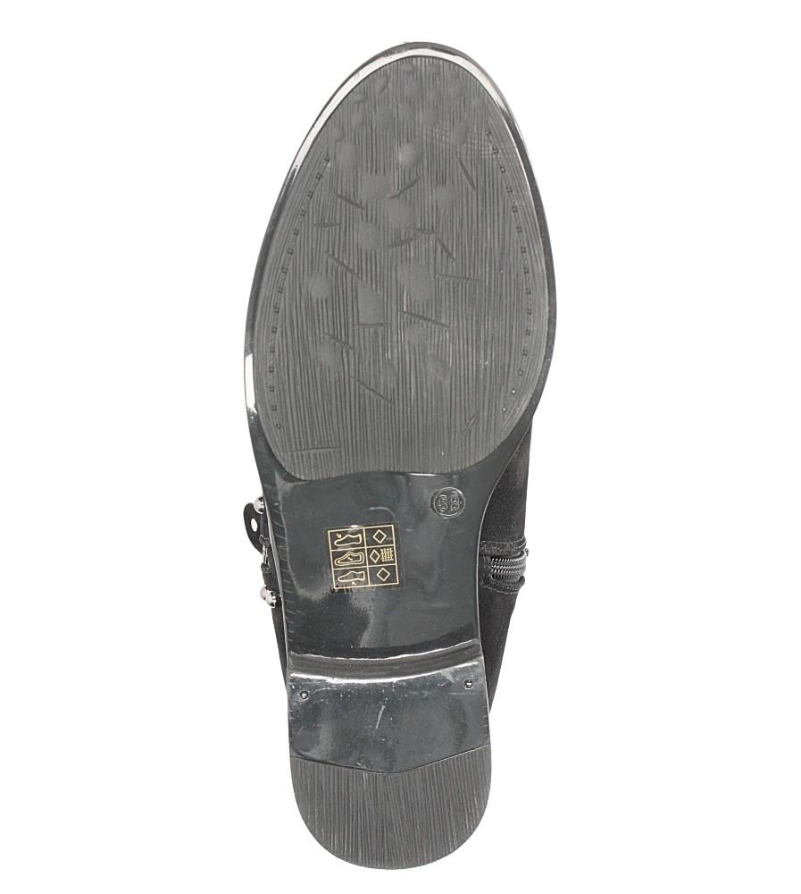 Czarne botki na niskim obcasie z ozdobnym suwakiem i nitami Casu D18X16/B material_obcasa wysokogatunkowe tworzywo