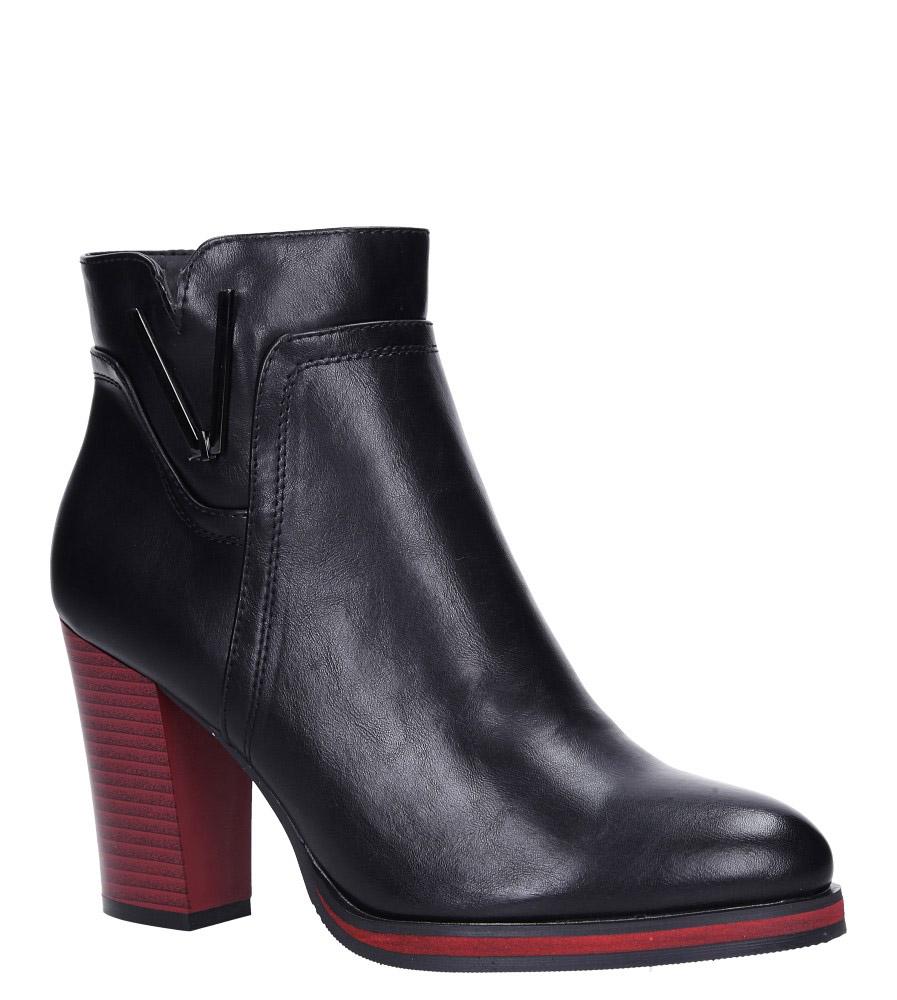 Czarne botki na ozdobnym czerwonym słupku Sergio Leone BT537