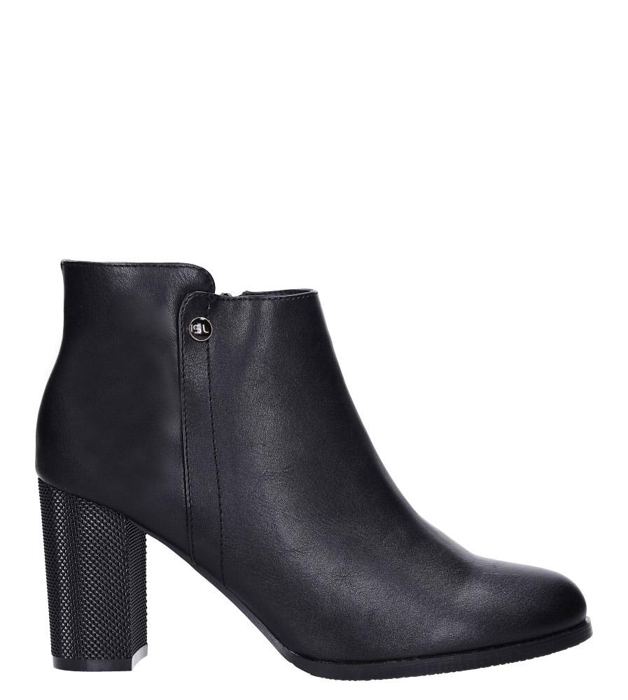 Czarne botki na słupku ozdobnym Sergio Leone BT518 wys_calkowita_buta 17 cm