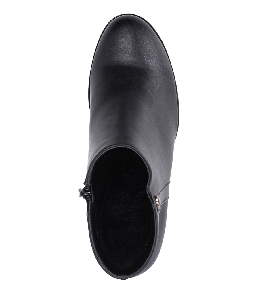 Czarne botki na słupku ozdobnym Sergio Leone BT518 wierzch skóra ekologiczna