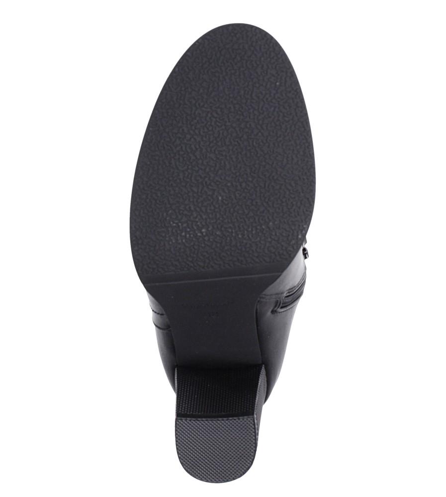 Czarne botki na słupku ozdobnym Sergio Leone BT518 wnetrze futerko