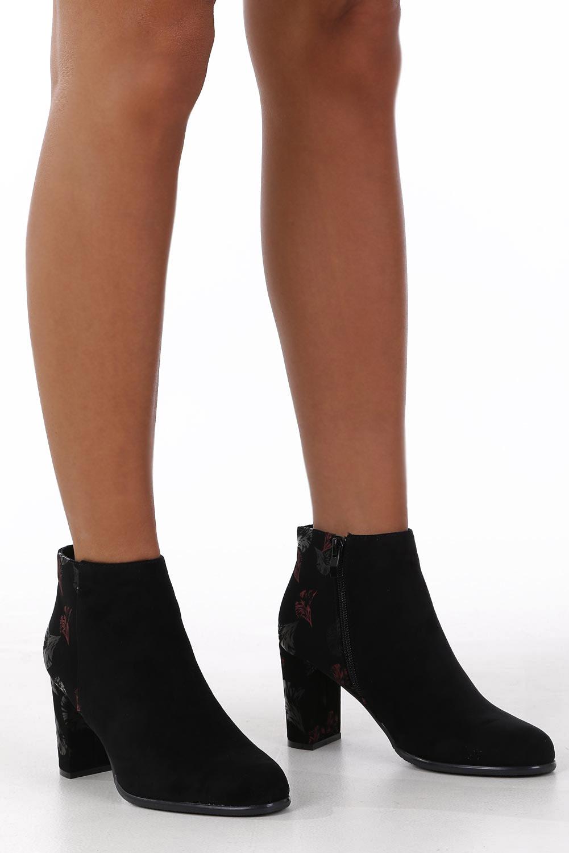 Czarne botki na słupku ozdobnym Sergio Leone BT547 kolor czarny, różowy