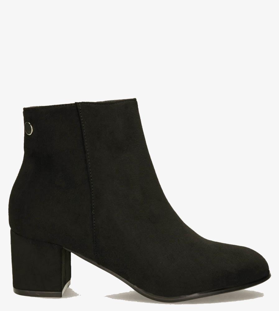 Czarne botki na słupku Casu G19X24/BM wys_calkowita_buta 17 cm