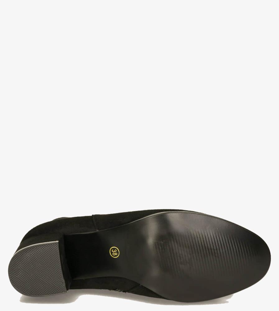 Czarne botki na słupku Casu G19X24/BM obwod_w_kostce 28 cm