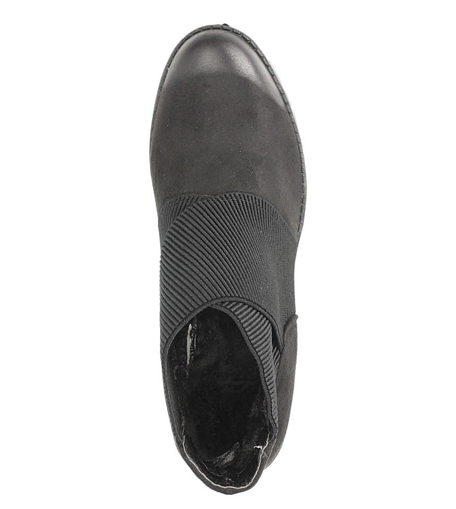 Czarne botki na słupku S.Barski 4500 wnetrze futerko