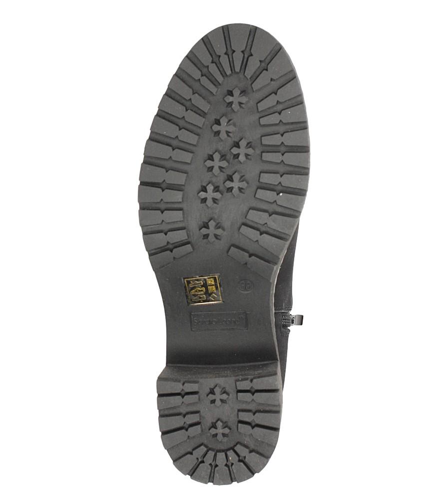 Czarne botki na słupku Sergio Leone BT700 wnetrze futerko