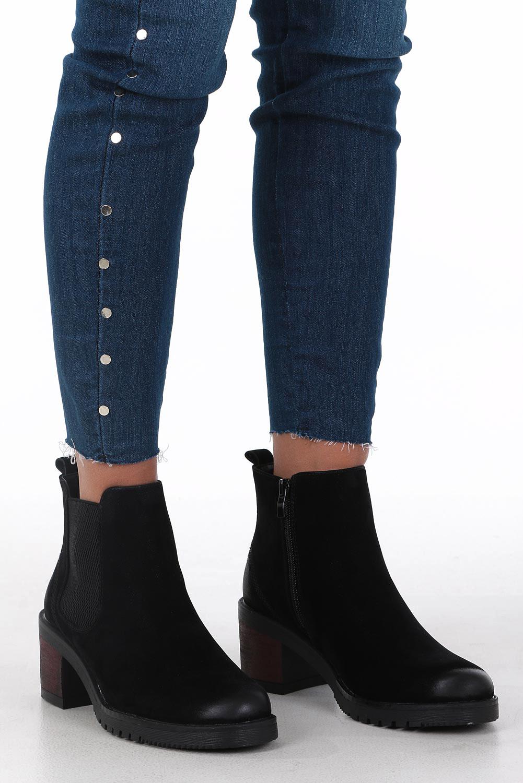 Czarne botki na słupku z gumką Sergio Leone BT702 kolor czarny