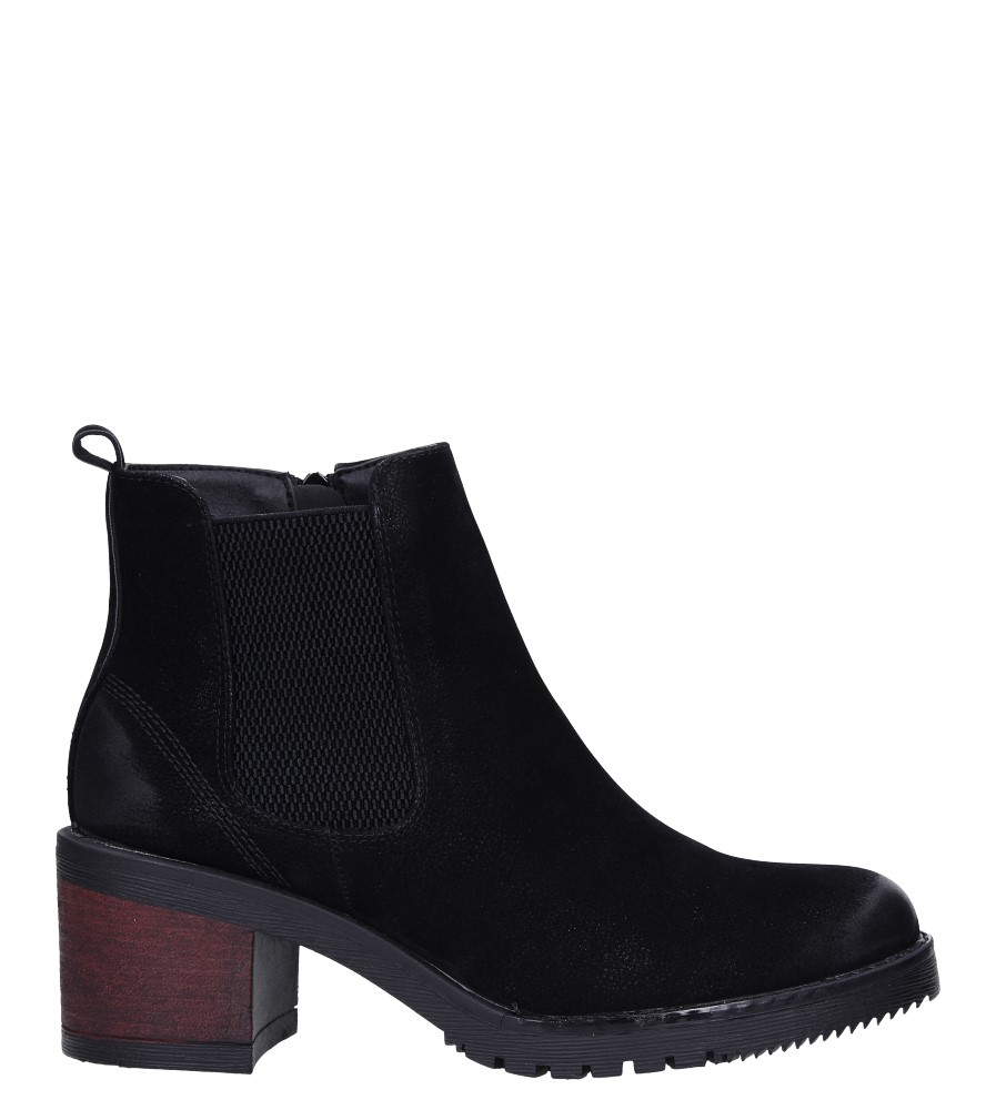 Czarne botki na słupku z gumką Sergio Leone BT702 wys_calkowita_buta 19 cm