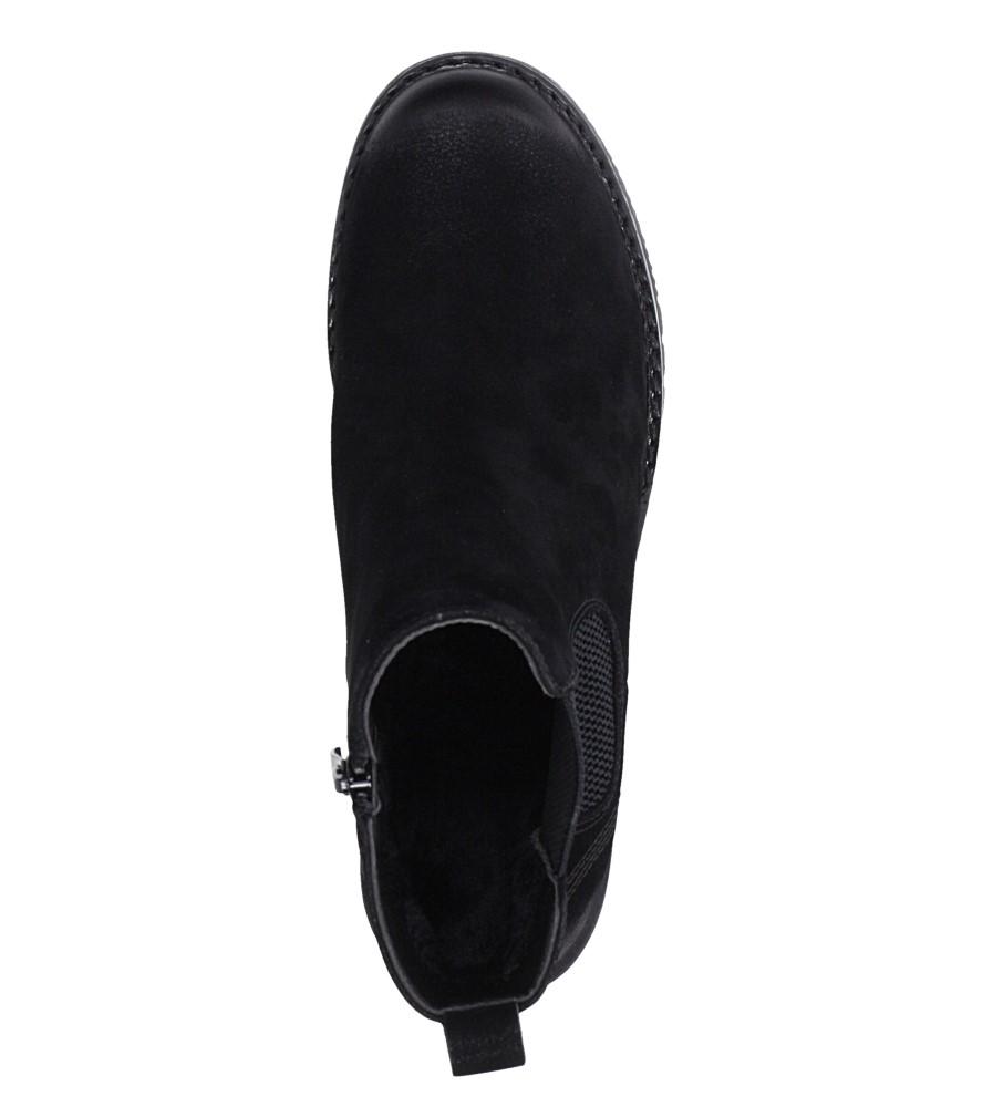 Czarne botki na słupku z gumką Sergio Leone BT702 wierzch skóra ekologiczna - nubuk