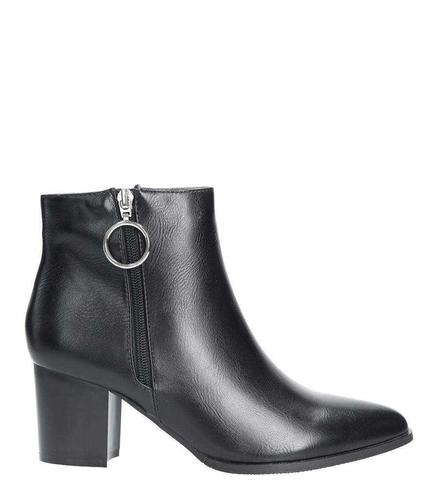 Czarne botki na słupku z metalową ozdobą Jezzi ASA127-3 wys_calkowita_buta 17.5 cm