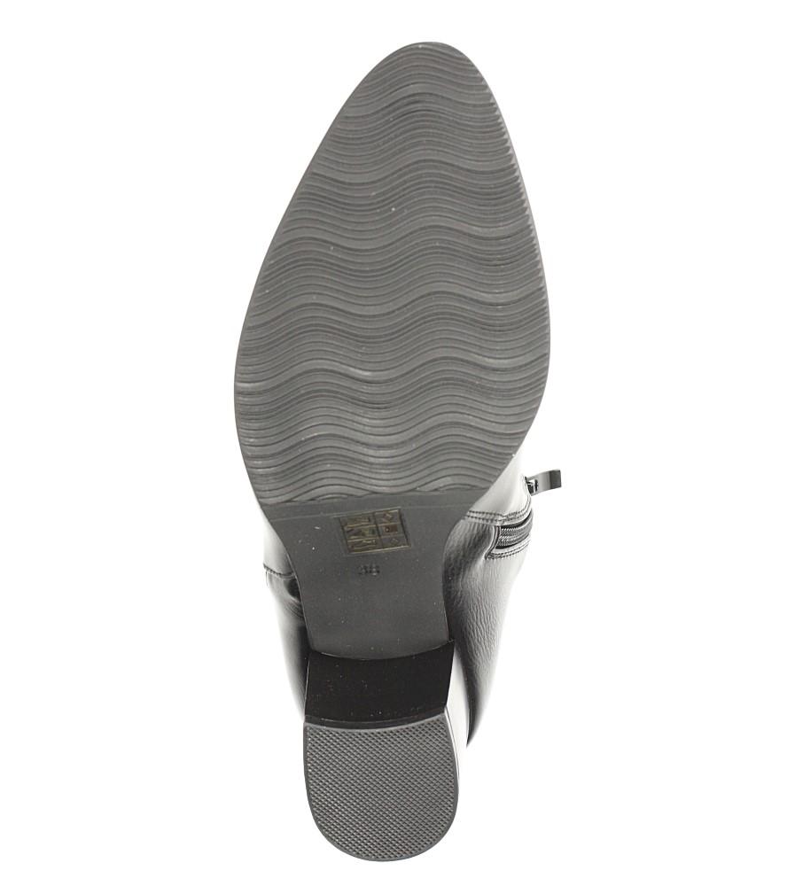 Czarne botki na słupku z metalową ozdobą Jezzi ASA127-3 wnetrze futerko