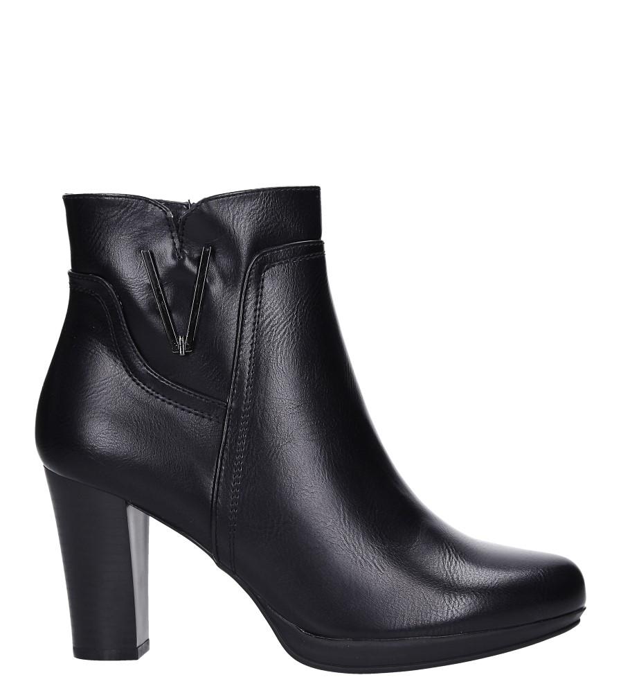 Czarne botki na słupku z metalową ozdobą Jezzi ASA90-18 wys_calkowita_buta 20 cm