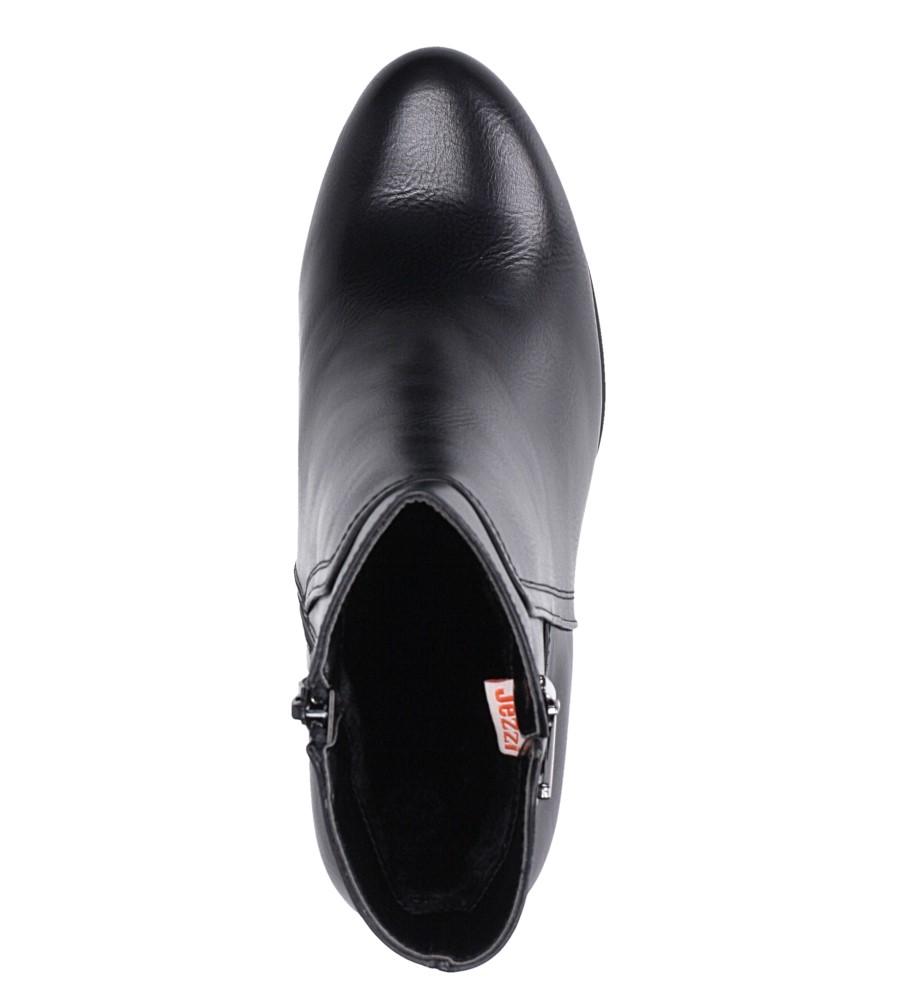 Czarne botki na słupku z metalową ozdobą Jezzi ASA90-18 obwod_w_kostce 30 cm