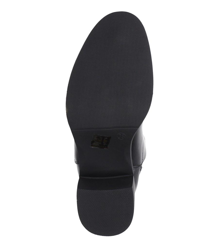 Czarne botki na słupku z ozdobną podeszwą Casu G19X27/B wkladka materiał ocieplany