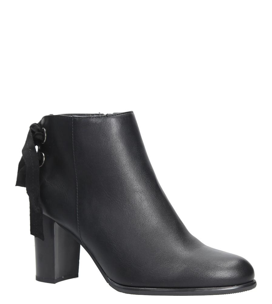 Czarne botki na słupku z ozdobną wstążką Sergio Leone BT545 czarny