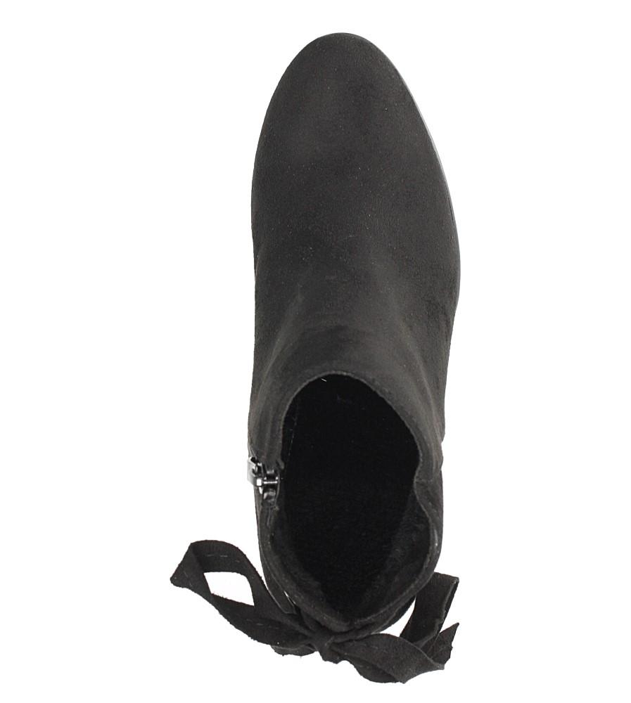 Czarne botki na słupku z ozdobną wstążką Sergio Leone BT545 wierzch skóra ekologiczna - zamsz