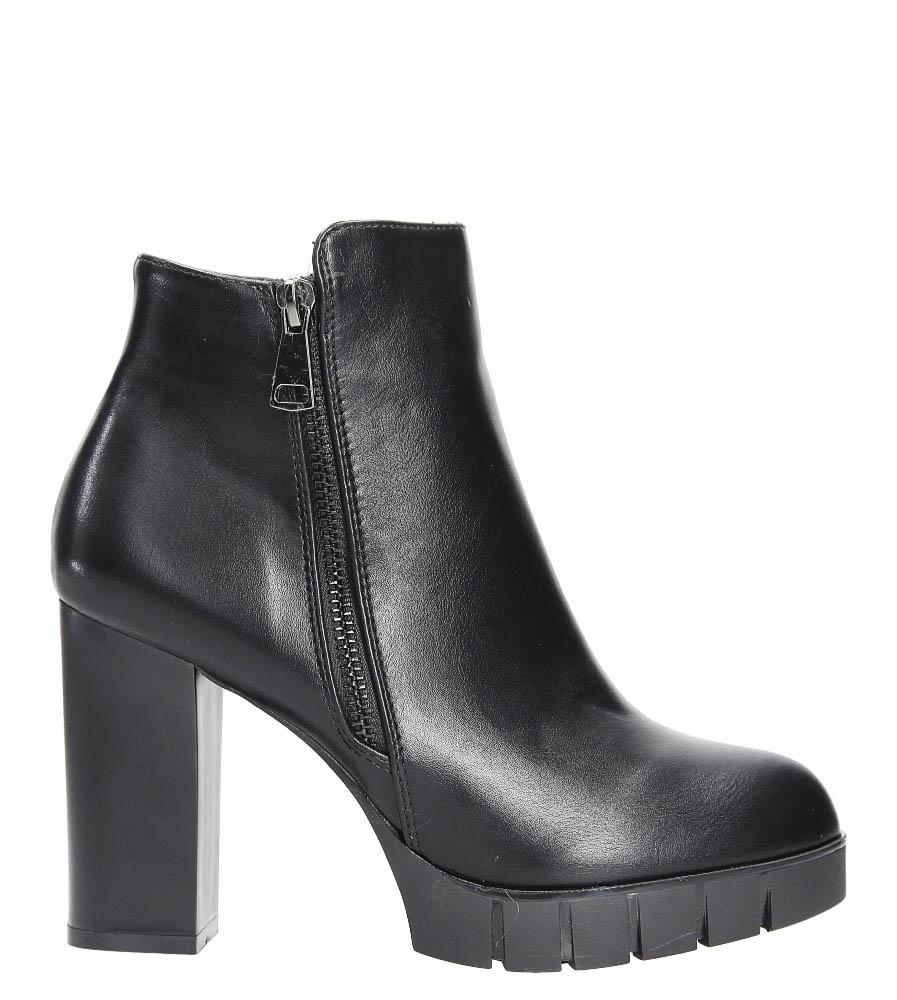 Czarne botki na słupku z ozdobnym suwakiem Casu D18X2/B wys_calkowita_buta 22 cm