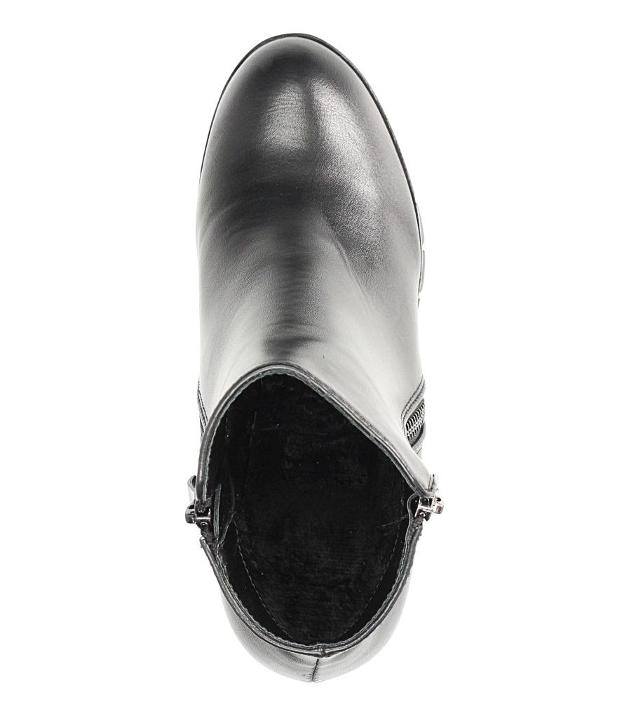 Czarne botki na słupku z ozdobnym suwakiem Casu D18X2/B obwod_w_kostce 23 cm