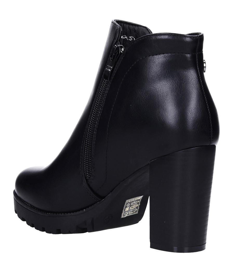 Czarne botki na słupku z ozdobnym suwakiem Casu G19X32/B wysokosc_platformy 2 cm