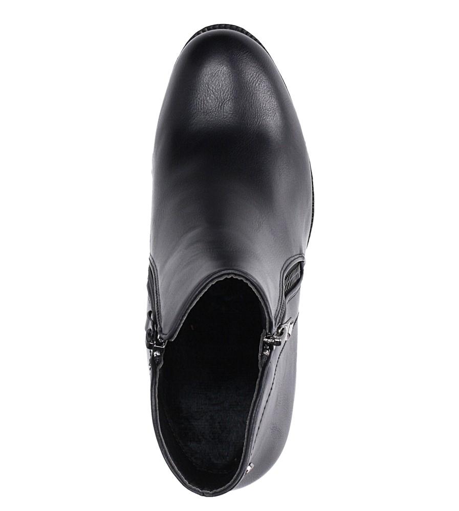 Czarne botki na słupku z ozdobnym suwakiem Casu G19X32/B wys_calkowita_buta 20 cm