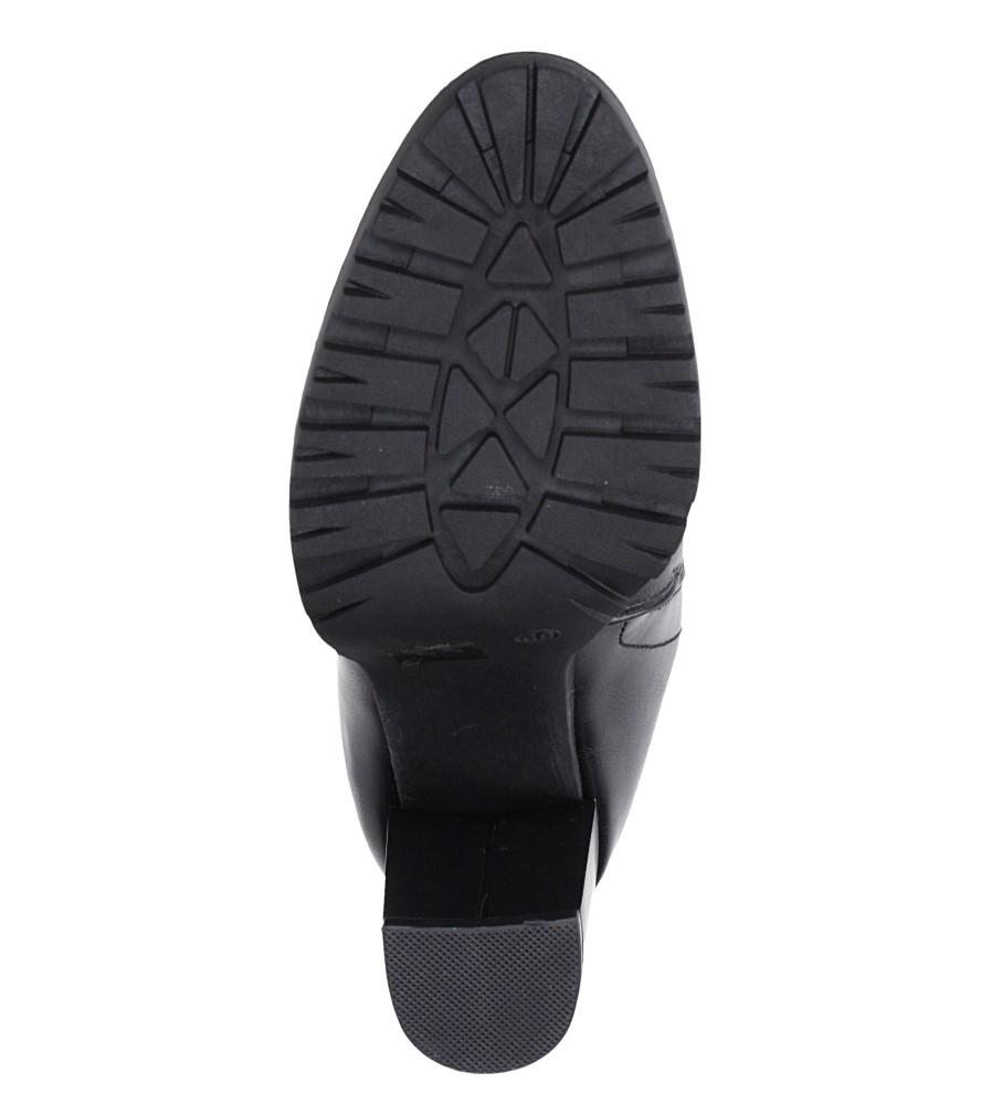 Czarne botki na słupku z ozdobnym suwakiem Casu G19X32/B wierzch skóra ekologiczna