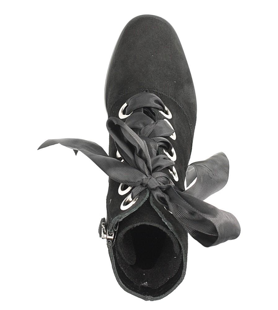 Czarne botki skórzane na słupku wiązane wstążką Maciejka 03782-01/00-3 obwod_w_kostce 20 cm