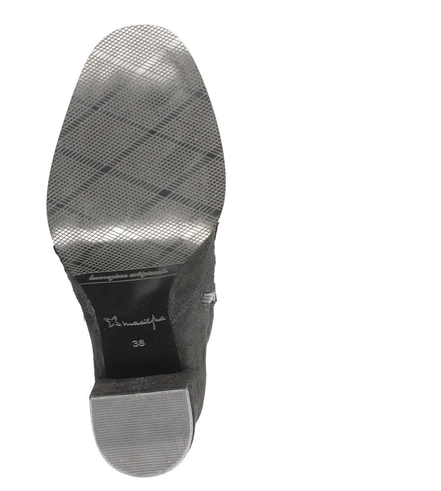 Czarne botki skórzane na słupku wiązane wstążką Maciejka 03782-01/00-3 wierzch skóra naturalna - zamsz