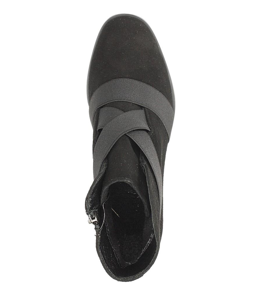 Czarne botki skórzane z ozdobnym obcasem Maciejka 03830-01/00-3 wierzch skóra naturalna - zamsz