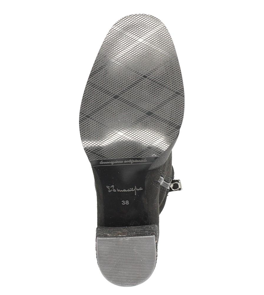 Czarne botki skórzane z ozdobnym obcasem Maciejka 03830-01/00-3 wnetrze filc