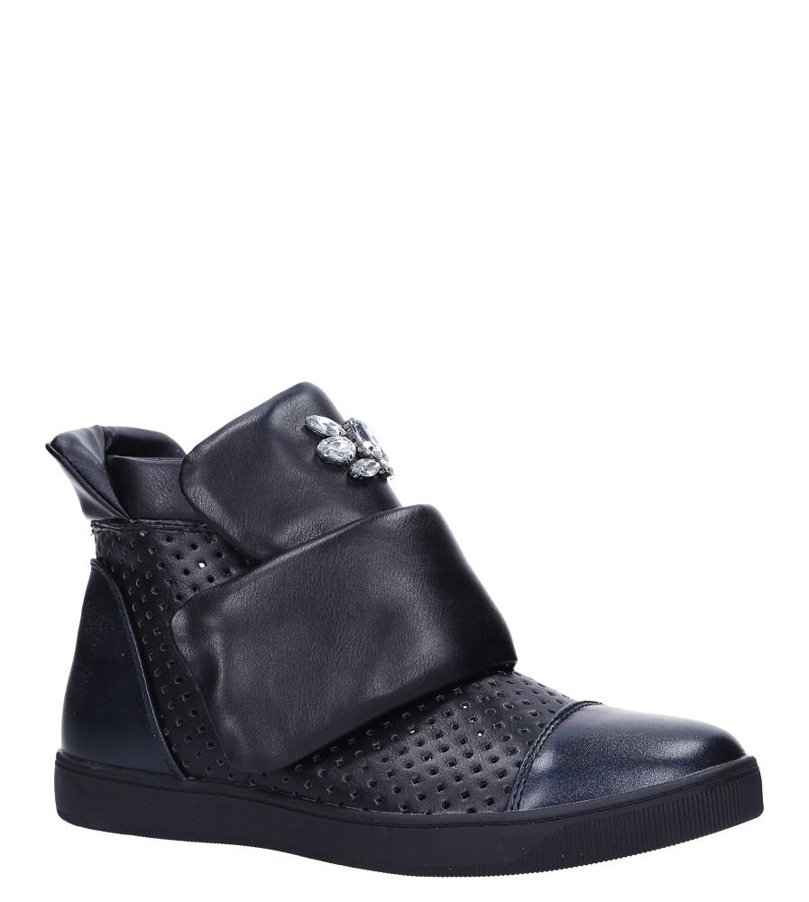 Czarne botki sneakersy na rzep z kryształkami Casu 7-X7962A