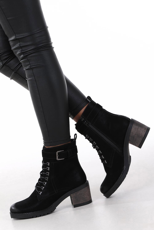 Czarne botki sznurowane na słupku z ozdobną klamerką Sergio Leone BT705 wysokosc_obcasa 6.5 cm