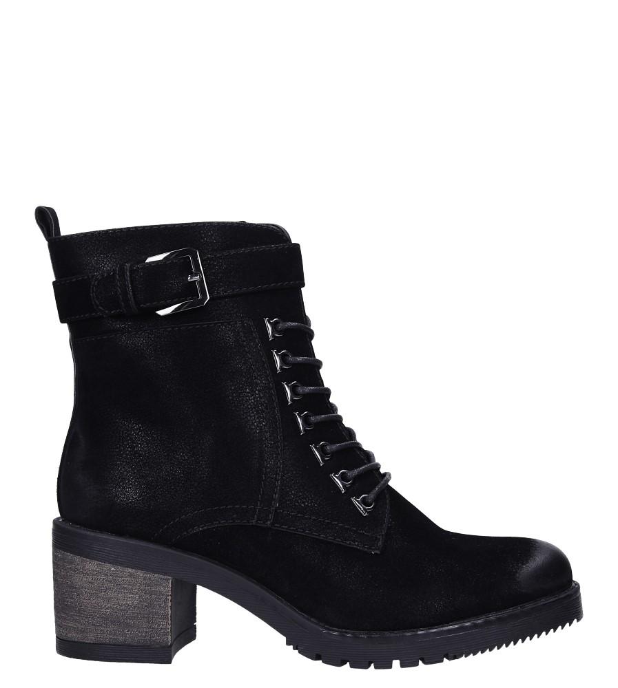 Czarne botki sznurowane na słupku z ozdobną klamerką Sergio Leone BT705 wys_calkowita_buta 21.5 cm