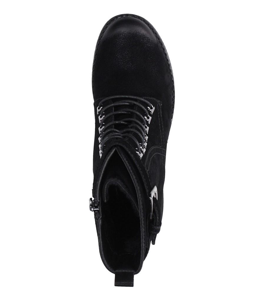 Czarne botki sznurowane na słupku z ozdobną klamerką Sergio Leone BT705 wnetrze futerko