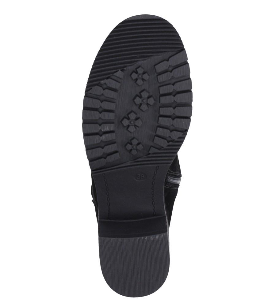 Czarne botki sznurowane na słupku z ozdobną klamerką Sergio Leone BT705 wkladka futerko
