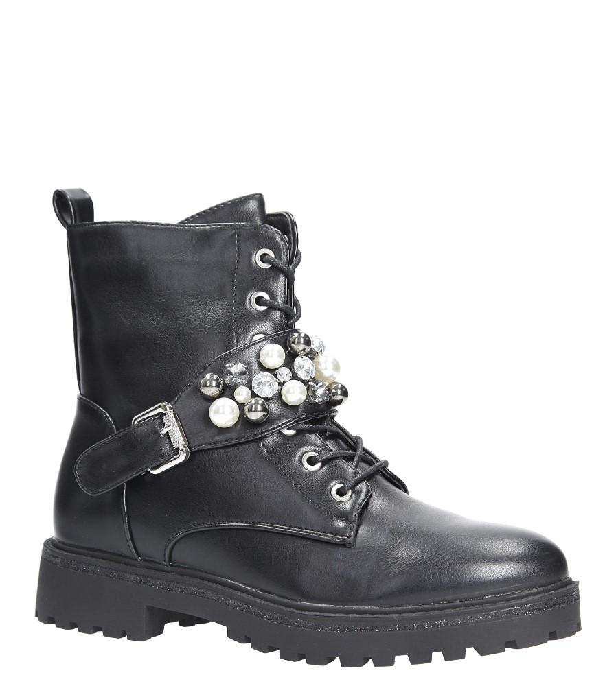 Czarne botki trzewiki sznurowane z perełkami i kryształkami Casu 7-X8030A czarny