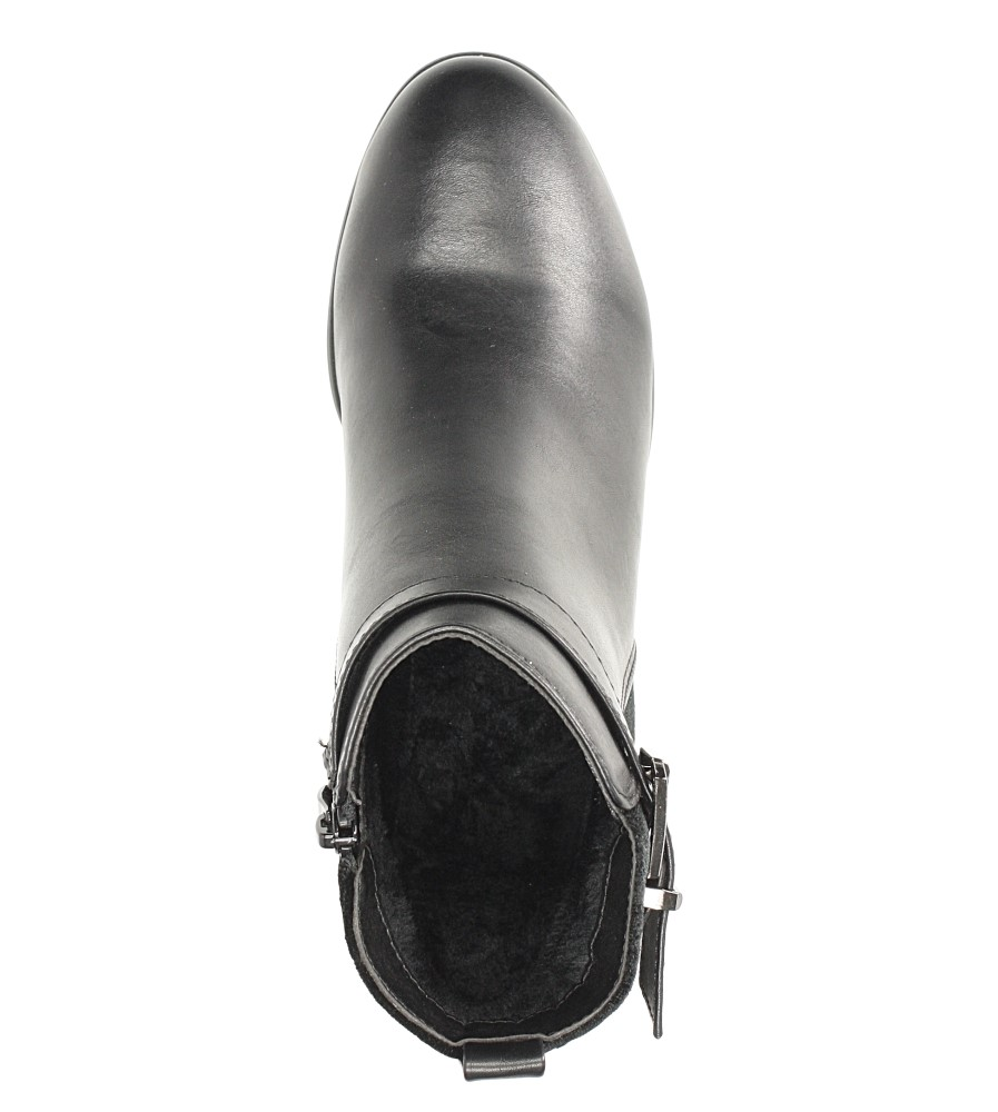 Czarne botki z klamrą Sergio Leone BT503 wnetrze futerko