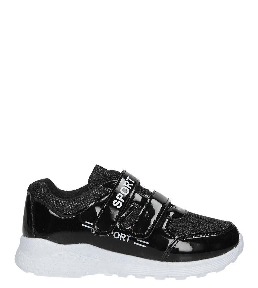 Czarne buty sportowe błyszczące na rzepy Casu A4843-22 czarny