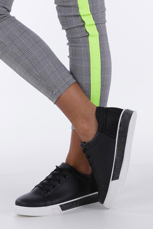 Czarne buty sportowe brokatowe sznurowane Casu 02004(D0611)